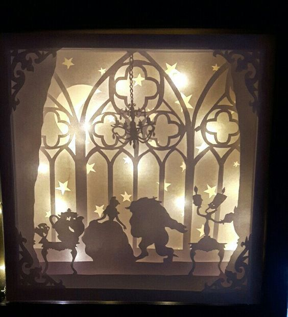 Beauty And The Beast 3d Paper Art Shadow Box Art Disney Shadow Box