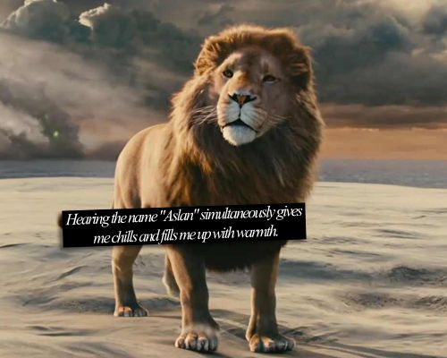 Narnia Confessions: Just knowing the meaning and person Aslan represents, The feeling you get...