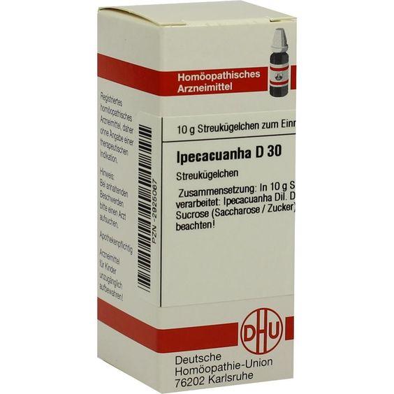 IPECACUANHA D 30 Globuli:   Packungsinhalt: 10 g Globuli PZN: 02925067 Hersteller: DHU-Arzneimittel GmbH & Co. KG Preis: 5,19 EUR inkl.…