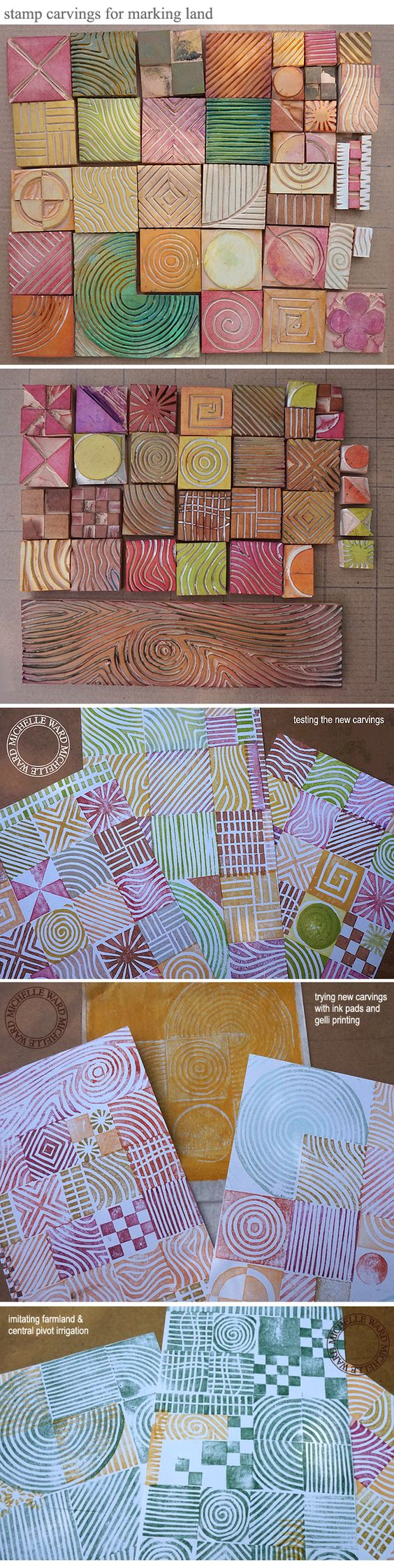 Stamp carvings for making maps, by Michelle Ward #craft