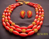 Vintage Sophisticated Orange and Gold Tone Multi-Strand Necklace and Clip-on Earring Demi-Parure