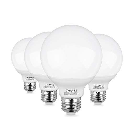Innqoo G25 Led Bulb Vanity Lights Bulb E26 Base Equivalent 50w Incandescent Bulb Daylight White 5000k For Bathroom Ma Vanity Light Bulbs Mirror Lamp Led Bulb