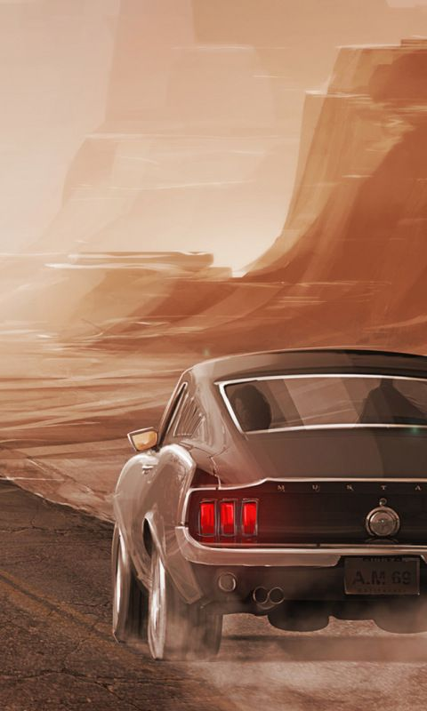 Ford Mustang Long Lone Road Artwork 480x800 Wallpaper Ford Mustang Mustang Mustang Cars
