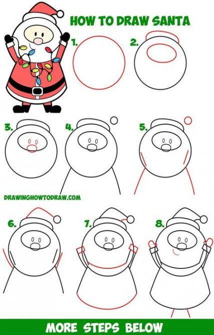 51 Trendy Drawing For Kids Christmas Step By Step How To Draw Santa Christmas Drawing Drawing Tutorials For Kids