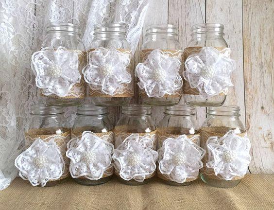 quart 10 tamaño tarro de masón mangas, arpillera color natural y encaje blanco…