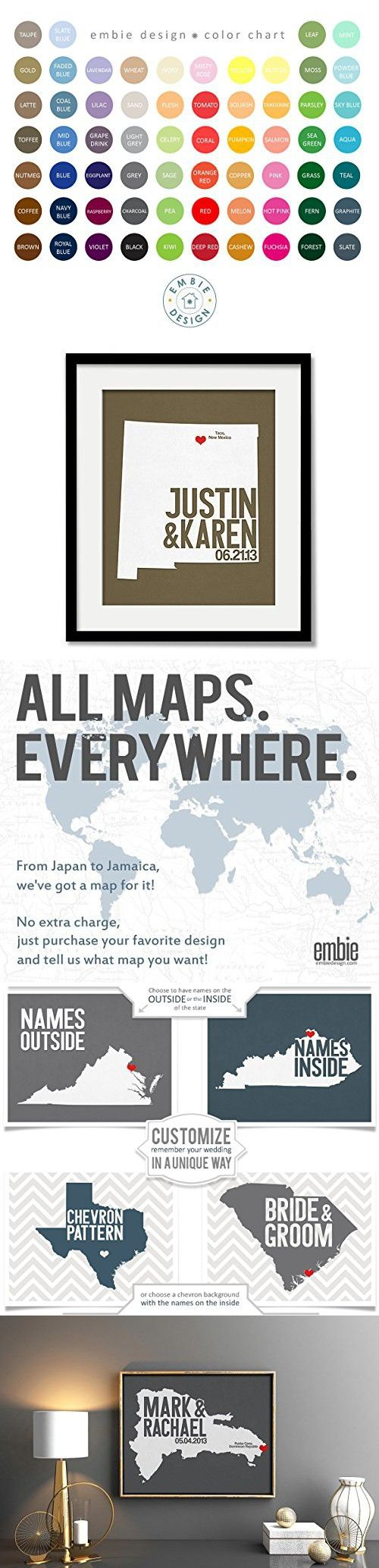 Dominican Republic Or Any State Map Print With Couples Names