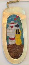 """Vintage de mediados de siglo Salvador Teran Mosaico Bandeja De Latón C / Mango 15 1/4 """"x 5 3/4"""