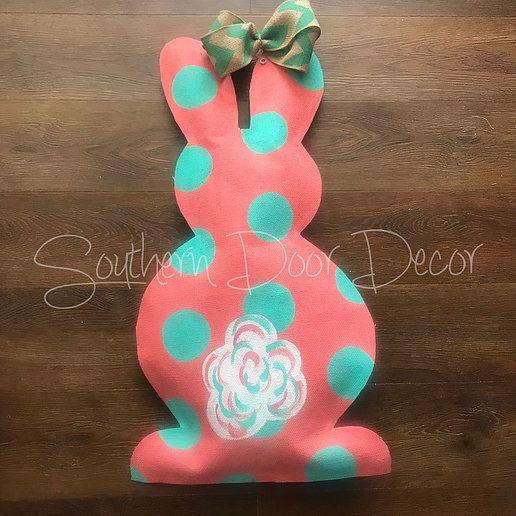 Polka Dot Bunny Door Hanger Website Bunny Door Hanger Easter Door Decor Door Hangers
