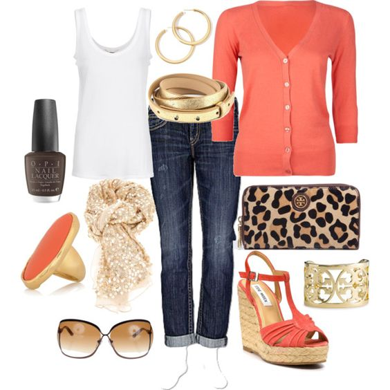 Coral cardigan with white tank