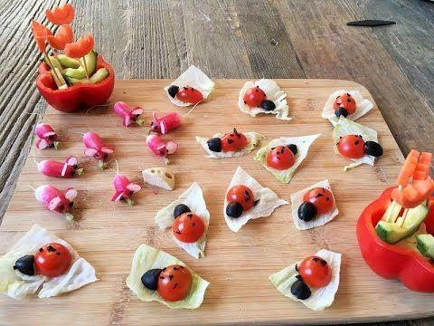Recette enfants : apéro tomates cerises coccinelle et radis roses souris - YouTube
