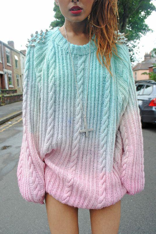 Vtg dip dye knit chunky ombre stud spiked boyfriend oversized . 95a99f77a