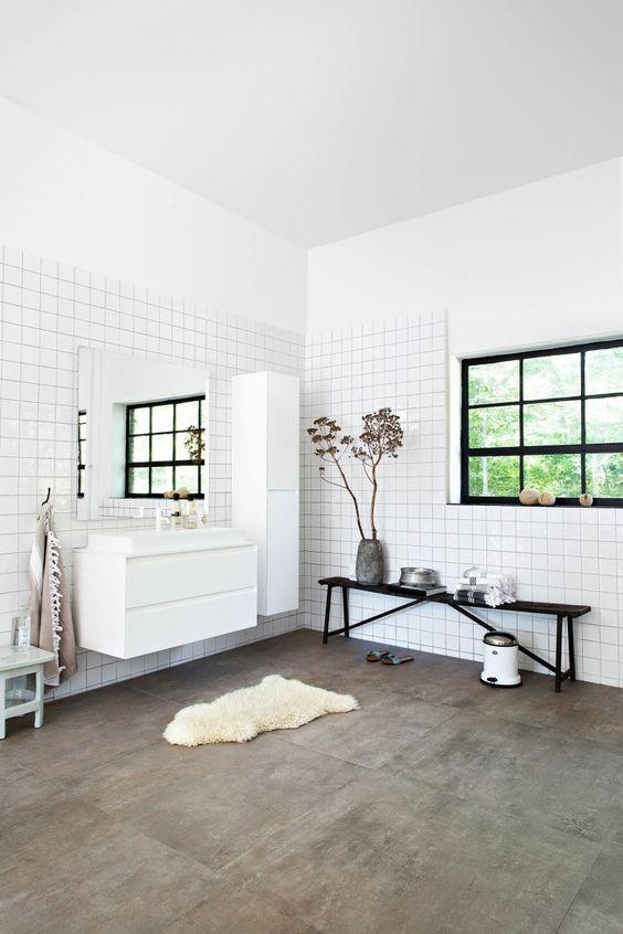 Gietvloeren Voor Badkamer ~ witte tegels en badkamermeubels BADKAMER Pinterest