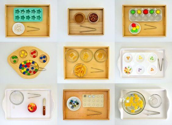 Montessori Activities - Transferring with Mini Tongs or Tweezers: