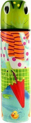 """Pylones Hot or Cold Kids Mini Coffee Travel Thermos Bottle; """"Frog & Duck"""", 8 Ounce by Pylones. $45.99. Mini-size, Tucks into your purse, briefcase, backpack, or diaper bag perfectly!. Pop-up, easy pour lid. 8 ounce capacity, Stainless steel. Available in other styles. Dimensions: 8"""" tall x 2"""" diameter. Darling frog standing in a pond with a duck swimming in it. Frog has an umbrella in his hand and rain boots on. Very cute and colorful. Complete with small cup and pop-t..."""