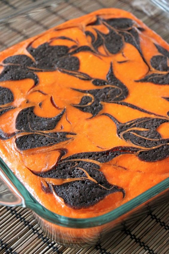 Cream Cheese Swirl Halloween Brownies (could do red/green for Christmas, pink/red for Valentine's Day etc)