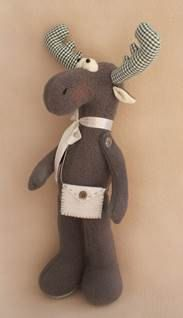 DIY Kit and pattern Moose Tilda style doll sewing pattern and kit with fleece and cotton fabric for handmade softie stuffed toy