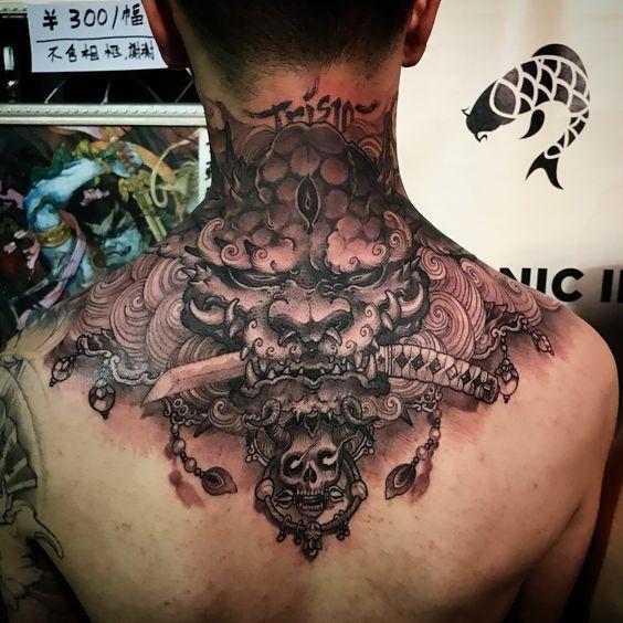 Foodog Neck Piece Healed Chronicink Workproud Wearproud Sponsored By Tatsoul Neck Tattoo Back Of Neck Tattoo Asian Tattoos