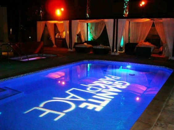 corporate logo projected in an outdoor pool   getsep com