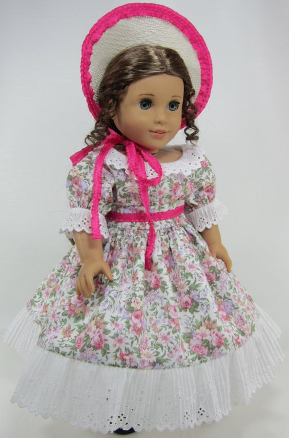 18 Inch Doll Clothes for American Girl Dolls - A Picnic Dress and Hat for Marie-Grace or Cecile