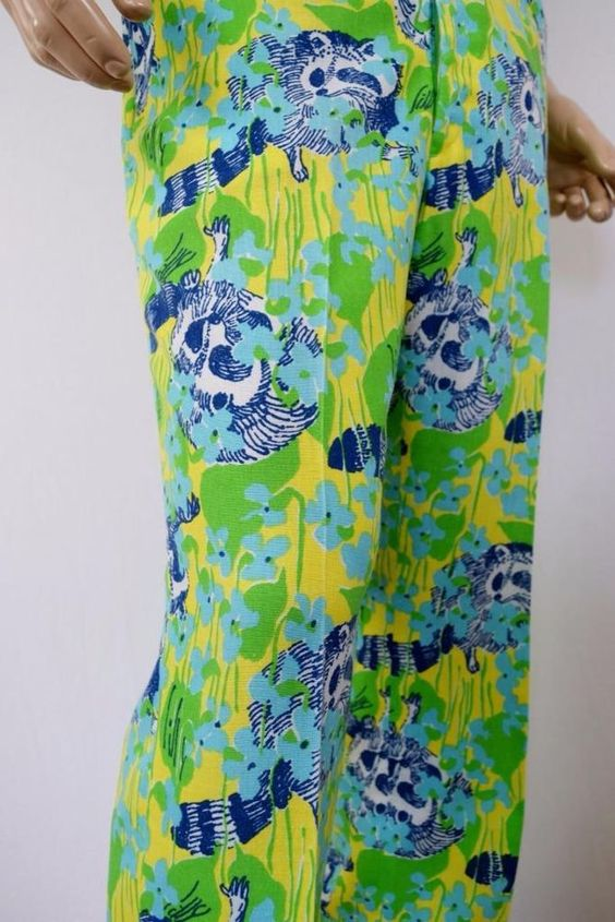Vtg 1970's LiLLY PuLitZeR Men's MoD HiPPiE RACCOON Patterned GoLf HiPPiE Pants