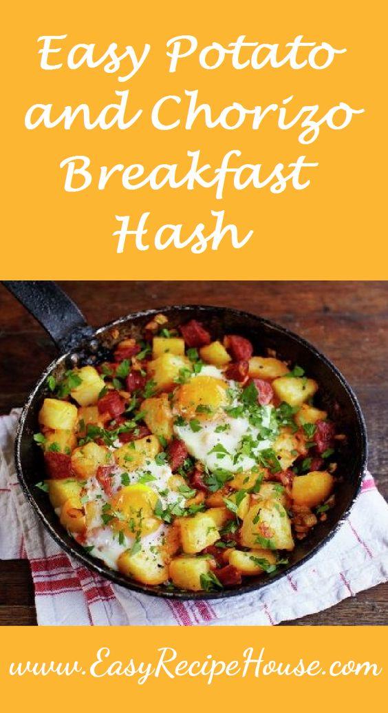 Easy Potato and Chorizo Breakfast Hash - Easy Breakfast Recipes- Simple Brunch Recipe