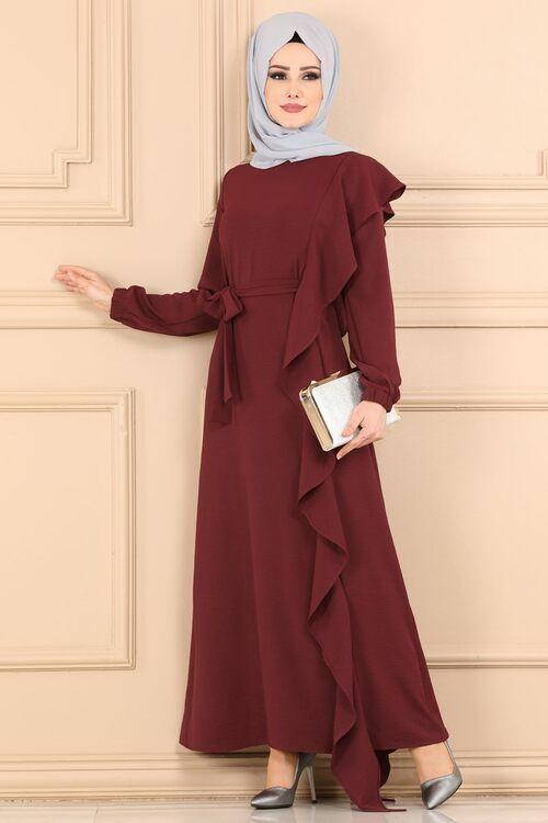Modaselvim Elbise Firfirli Kemerli Elbise 2085ab368 Koyu Bordo Moda Stilleri Elbise Elbiseler