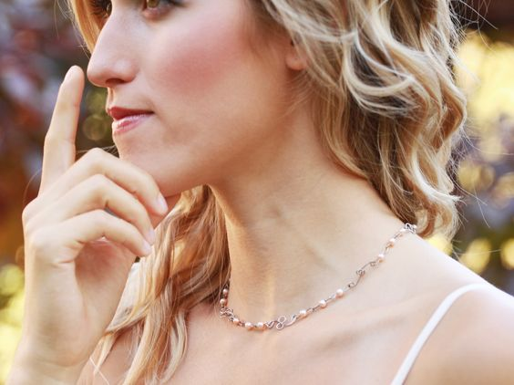 Pearl necklace. Made from surgical steel.