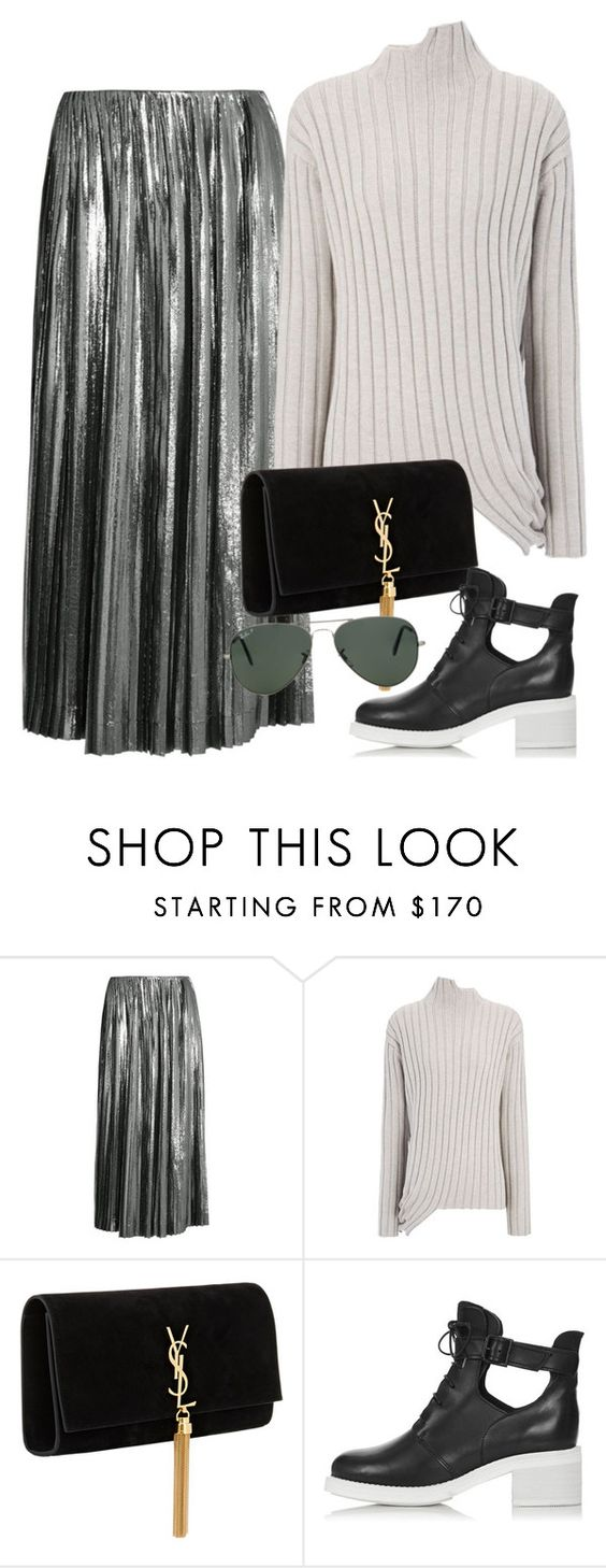 """Untitled #1692"" by erinforde ❤ liked on Polyvore featuring Loewe, Joseph, Yves Saint Laurent, Topshop and Ray-Ban"
