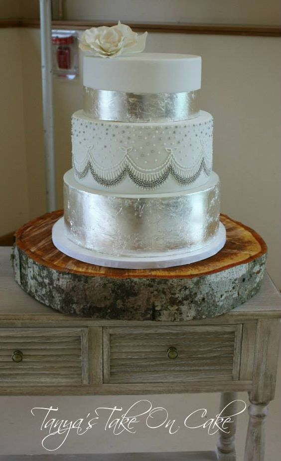 Silver Leaf Wedding Cake Hand Piped Detail Wedding Cake Silver Leaf Silver Dragee Tanyas