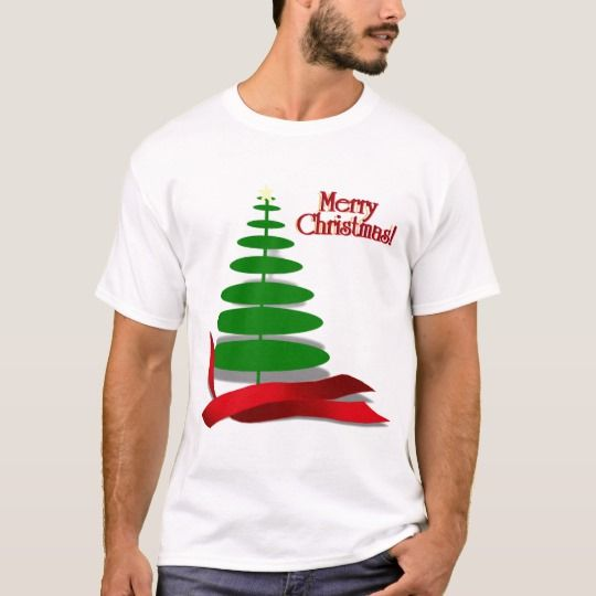Christmas Tree With Red Ribbon T Shirt Zazzle Com Casual Shirts For Men Shirt Casual Style Funny Holiday Shirts