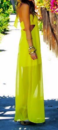 love this: Maxi Dresses, Summer Dress, Cutout, Fashion Style, Dream Closet, Yellow Maxi, Neon Dresses, Neon Yellow