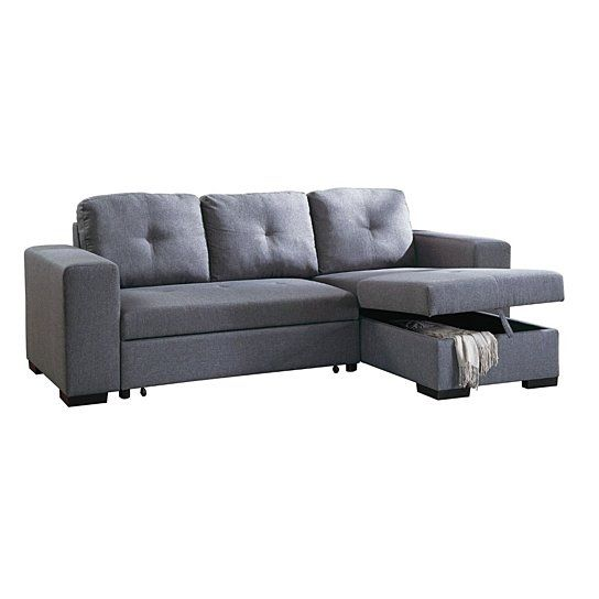 Modish 2 Piece Convertible Sectional Sofa In Gray Sectional Sofa
