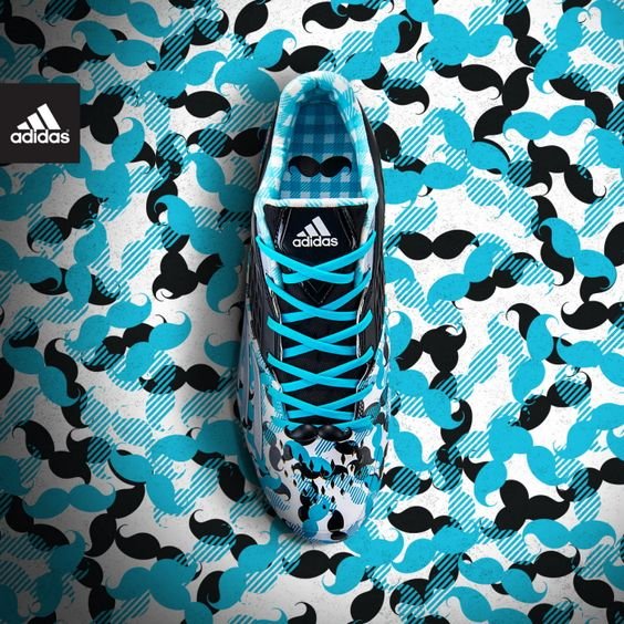 Some really nice Adidas'. Best cleats ever!!!!#mustache #adidasmustachecleats #soccer+mustaches=...