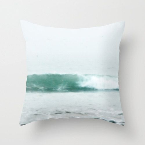 Throw Pillow Cover  Aqua Blue Ocean Wave by BrookeRyanPhoto, $38.00