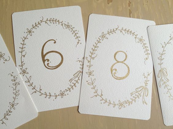 Wedding calligraphy number cards with vine and flower by