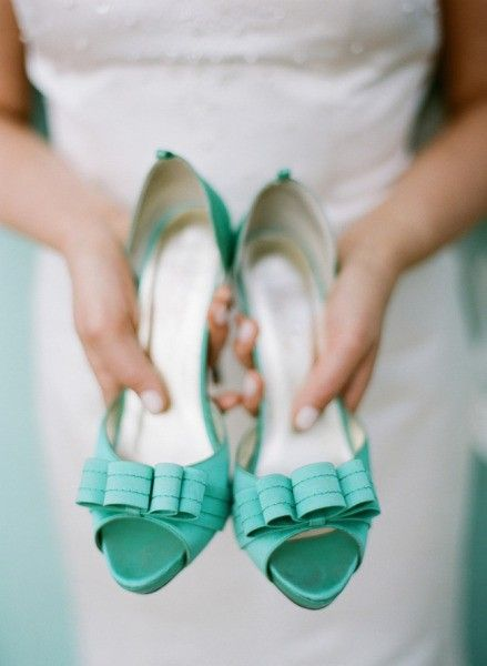Tiffany Blue Heels via Style Me Pretty. Stewart Leishman, Photographer