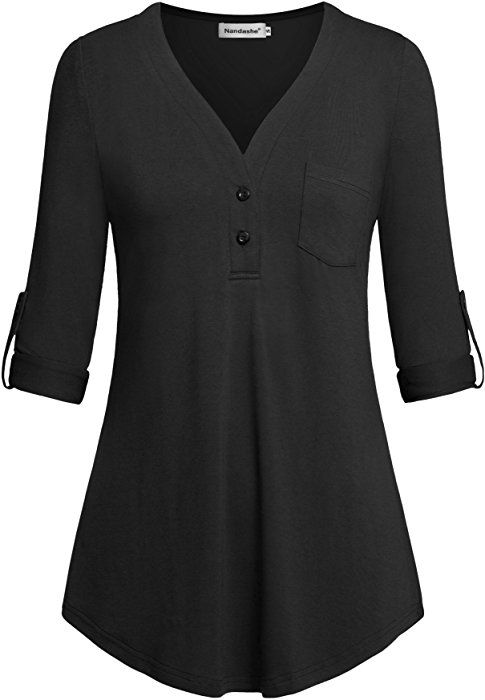Nandashe Womens Long Sleeve Plaid Hoodies with Pocket Casual Hooded Tunic Tops