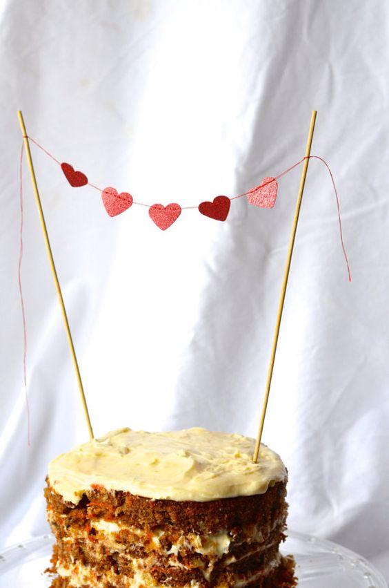 Red Heart Cake Topper glitter mini dessert bunting by thePathLessTraveled, $4.00