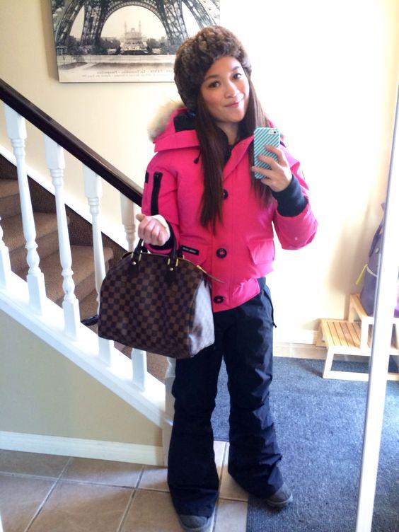 Canada Goose chateau parka sale price - Pink Canada goose bomber jacket, shaved beaver fur headband ...
