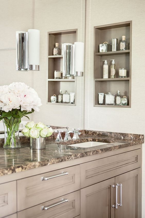 Inset shelf replaces medicine cabinet.//Ask an Expert: Bathroom Renovation Trends: