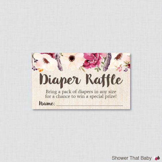 Boho Baby Shower Diaper Raffle Tickets and Diaper Raffle ...