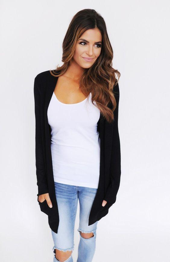 Pocket Cardigan- Black - Dottie Couture Boutique