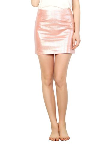 Faux Leather Pink Bodycon Mini Skirt & Skirts - at Jollychic