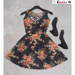 Vestido Rodado com Bojo Floral Black