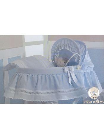 Moises sabanas pique royal celeste nanetes moda puericultura mobiliario para bebes - Sabanas moises mimbre ...