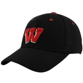 NCAA Top of the World Wisconsin Badgers Black Basic Logo 1-Fit Hat, via https://myamzn.heroku.com/go/B003D0H6E2/NCAA-Top-of-the-World-Wisconsin-Badgers-Black-Basic-Logo-1-Fit-Hat