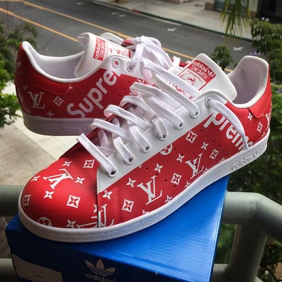 Benutzerdefinierte Adidas Stan Smith Oberste X Lv Monogramm Print Basis Weiss Rot Adidas Stan Smith Motiv Handbemalt S Sneaker Head Custom Adidas Red Adidas