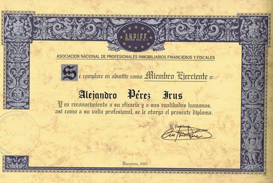 2007 Asociacion Inmobiliaria ANPIFF Asociacion Nacional deProfesionales Inmobiliarios Financieros y Fiscales Agentes Comerciales AlejandroPI Alejandro Perez Irus Medico Inmobiliarias