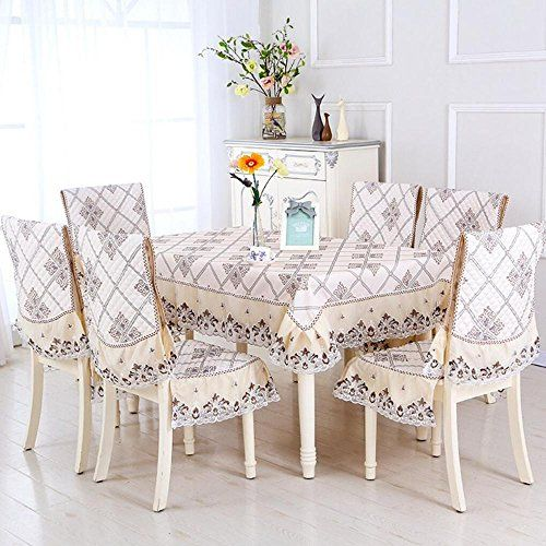 5 7 Piece Luxury Table Cloth Set Lace Tablecloth Chair Cover For
