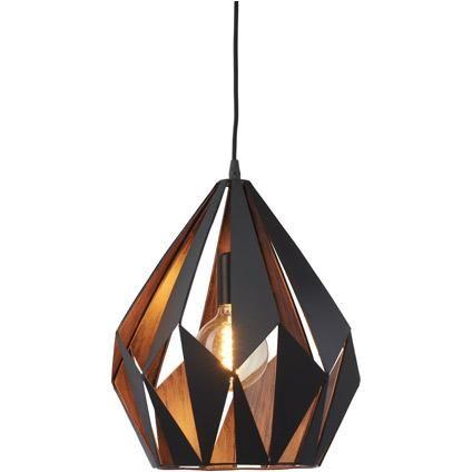 eglo vintage hanglamp carlton zwart koper  praxis  lamp